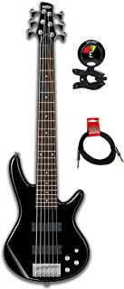 Ibanez GSR20 Gio 6 String Electric Bass Guitar w/Agathis Body, Maple Neck, Rosewood Fingerboard and 2 Humbucking Pickups with Clip on Guitar Tuner and Instrument Cable Bundle (Black)