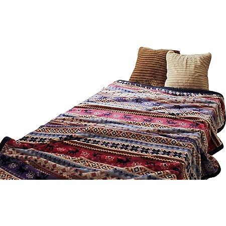 フランネル 毛布 シングルサイズ ノルディック柄 ブルー系