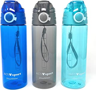 ActivSport Sports Water Bottle 3-Pack Multi-Pack, 3 Colors, Eastman Tritan, BPA-Free, Leak-Proof, Easy Locking & Push Button Flip Top, by Unity