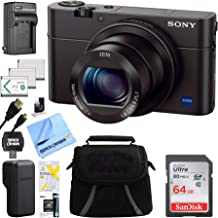 Sony DSC-RX100M III Cyber-shot Digital Still Camera Bundle with 64GB Card, 2 Spare Batteries, Rapid AC/DC Charger, SD Card Reader, Case, LCD Screen Protectors, and Table top Tripod