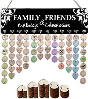 YuQi Best Presents for Mothers Moms, Wooden Family Birthday Reminder Calendar Board, DIY Anniversary Tracker Plaque Wall Hanging with Tags for Home Classroom Bar Wall Decorative [Best Grandma Gifts]