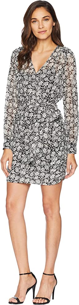 Long Sleeve Wrap Front Wild Blooms Dress