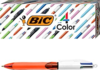 BIC 4-Color Grip Ballpoint Pen, Orange Barrel, Fine Point (0.8mm), Assorted Inks, 3-Count