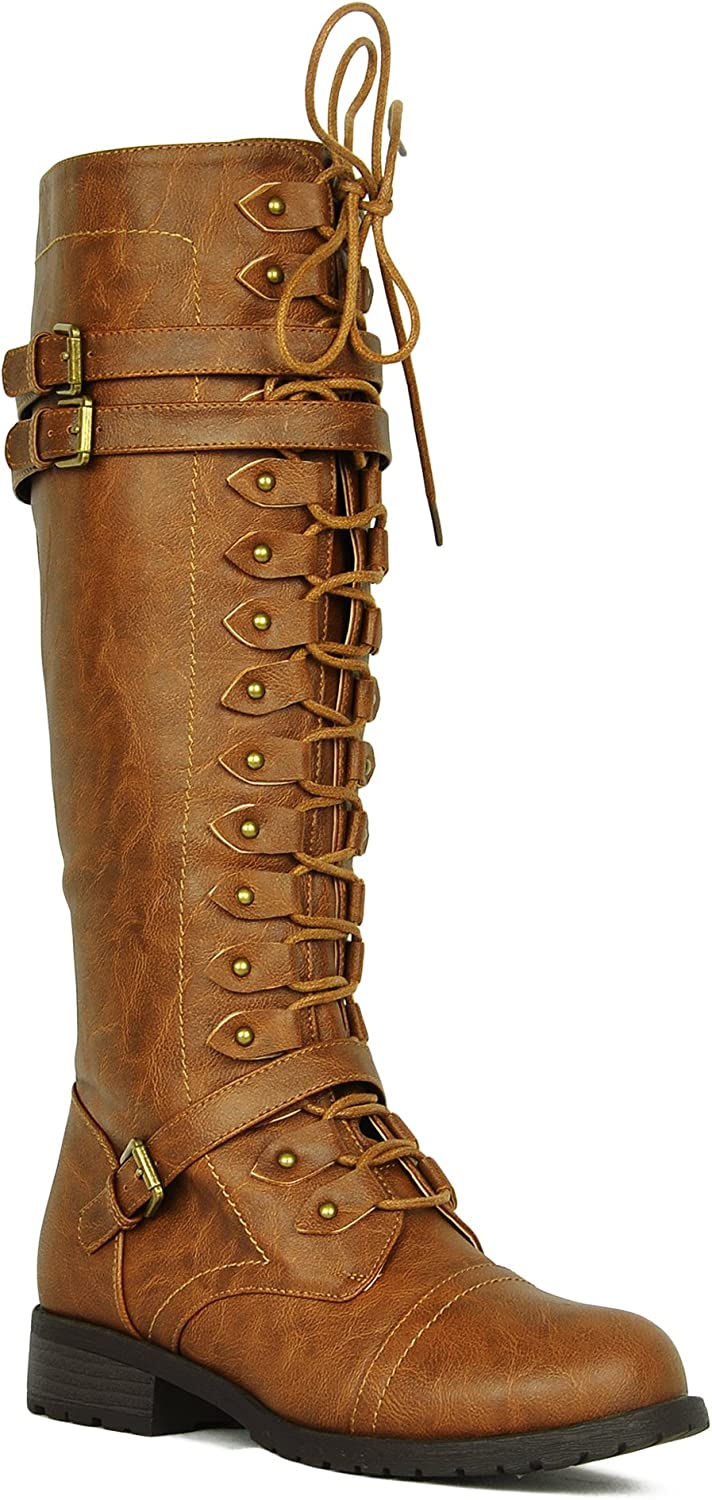 WEST COAST Women's Knee High Riding Boots Lace Up Buckles Winter Combat Boots Tan 6.5