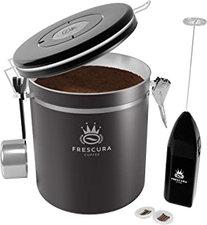 Coffee Canister - Coffee Canisters with Airtight Lids - Coffee Storage Container with CO2 Valve & Date Tracker - Coffee Bean Storage with Hook for Bean Scoop & Frother - Ground Coffee Holder (Grey)