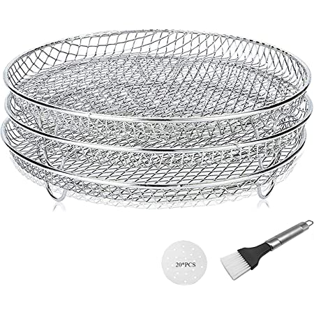 Dehydrator Racks for Oven, Dehydrator Stand Rack, Three Stackable Layer with Feet 304 Food Grade Stainless Steel Dehydrator Stand, Air Fryer & Pressure Cooker Grill Rack (6.5&8 Qt)