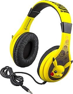 Pokemon Pikachu Kids Headphones, Adjustable Headband, Stereo Sound, 3.5Mm Jack, Wired Headphones for Kids, Tangle-Free, Volume Control, Childrens Headphones Over Ear for School Home, Travel