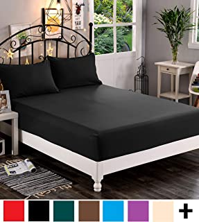 Elegant Comfort Premium Hotel 1-Piece, Luxury & Softest 1500 Thread Count Egyptian Quality Bedding Fitted Sheet Deep Pocket up to 16inch, Wrinkle and Fade Resistant, Twin/Twin XL, Black