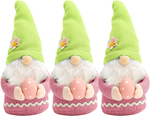 high quality 3 Pcs Easter Gnome wholesale Decor with Easter Egg, Handmade Plush Easter Faceless Ornaments Holding Egg, new arrival Easter Desktop Gnome Ornaments, Indoor Spring Decor, Tabletop Figurines sale