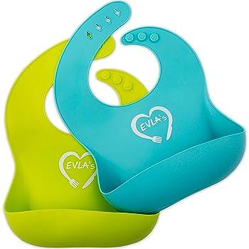 Baby Feeding Set | Silicone Bib Plates Bowls Spoons | Divided Plate Suction Bowl & Soft Spoon Aids Self Feeding | Adj...