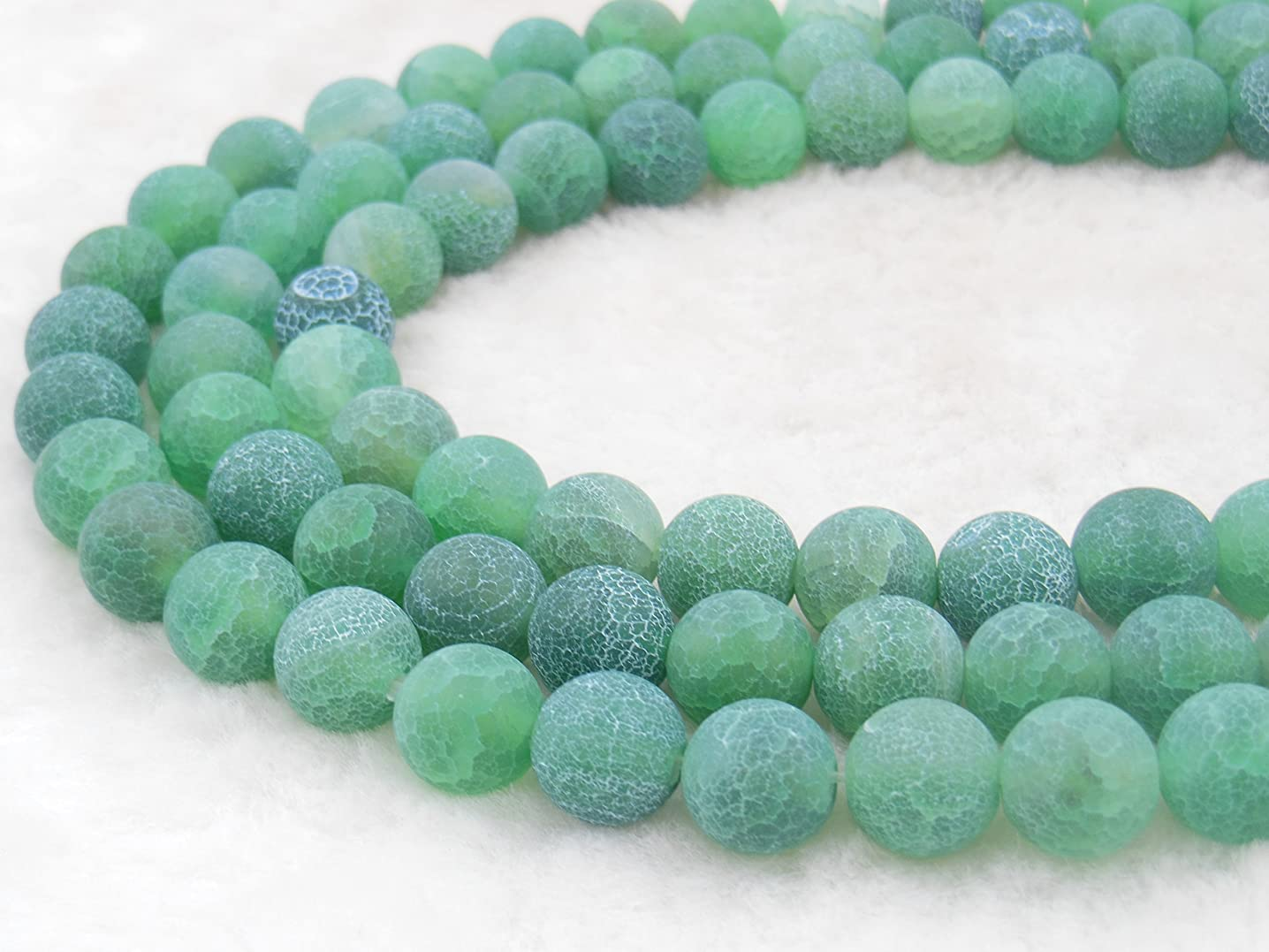 COIRIS 10MM Green Frosted Agate Gem Round Loose Stone Beads for Jewelry Making&DIY&Design (10MM, RS-1100)