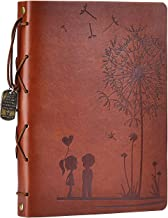 "Scrapbook Album DIY Photo Album Leather Scrapbook Memory Book ""Girl&Boy Dandelion "" Vintage Up Travel Scrapbook Album for Anniversary Wedding Guest book 60 Pages Christmas Gift (Brown)"