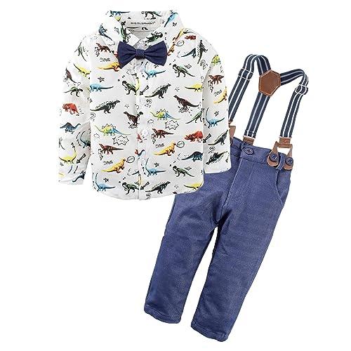 35a29fa9e95e7 BIG ELEPHANT Baby Boys' 2 Piece Pants Dresses Shirt Clothing Set with  Suspenders E34