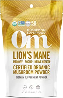 Sponsored Ad - Om Organic Mushroom Superfood Powder, Lions Mane, 3.5 Ounce (50 Servings), Memory Support, Focus, Clarity &...