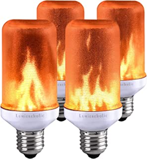 Lumiereholic LED Bulbs Flame Effect Light Bulb Fire Flickering Decorative Bulbs Simulated Nature Fire Atmosphere Lamp for Christmas/Home/Party/Garden/Restaurant/Bar/Halloween Decoration (4pc)