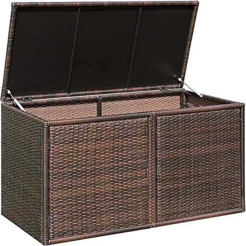 discount Giantex Rattan Deck Box 88 Gallon discount Wicker Storage Bench W/Separate Storage Shelf, Openable outlet online sale Door, Steel Frame, Toys and Tools Organize for Yard, Garden, Balcony, Porch, Patio Rattan Storage Box (Brown) outlet sale
