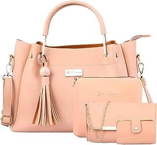 Shining Star Women's Handbag With Sling Bag & Clutch ,Card Holder (Set of 4)