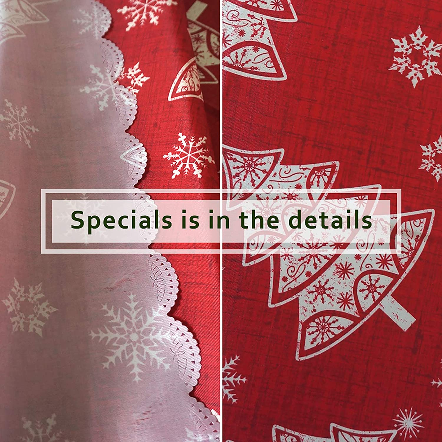 52x70, Christ Ribbon Hipinger Christmas Flower Printed Fabric Tablecloth Wrinkle-Free Stain Resistant