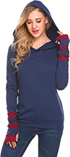 Women Color Block Sleeves Hooded Thumb Hole Sleeves Sweatshirt