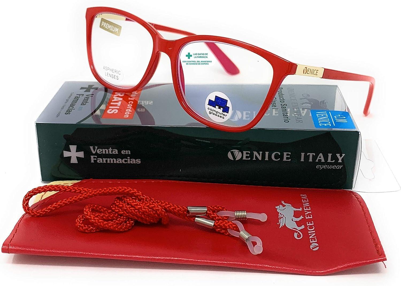 VENICE EYEWEAR OCCHIALI | New model 2021 Gafas de lectura con filtro bloqueo de luz azul para gaming, ordenador, móvil. Anti fatiga, presbicia, vista cansada, Mujer Diseño en Colores. (Rojo, 1,50)