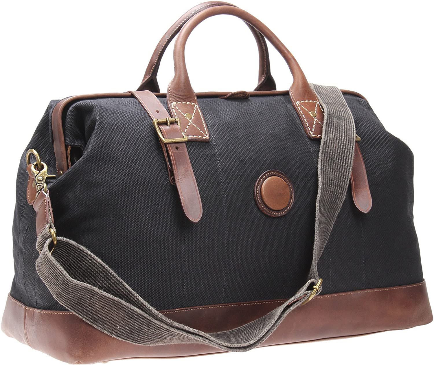 Leather Weekender Bag Canvas Overnight Travel Duffels Gym Tote Large A002 (Black)