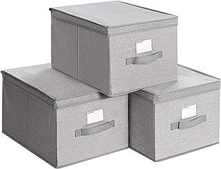 SONGMICS Lot de 3 Boîtes de Rangement avec Couvercle, Coffres en Tissu avec Porte-étiquettes, Organisateurs de Rangement, ...