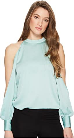 1.STATE Cold Shoulder Blouson Sleeve Blouse