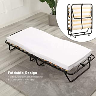 Folding Bed with Memory Foam Mattress,Portable Twin Size Bed for Guest - 74