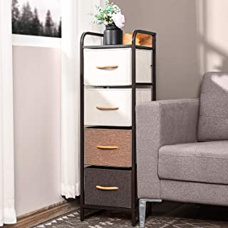 Kealive Drawer Dresser Storage Organizer Tall 4-Drawers for Closet, Sturdy Steel Frame Wood Top Fabric Dresser, Easy Pull Dresser Fabric Bins, Organizer Unit for Bedroom, Hallway, Entryway, Mixture