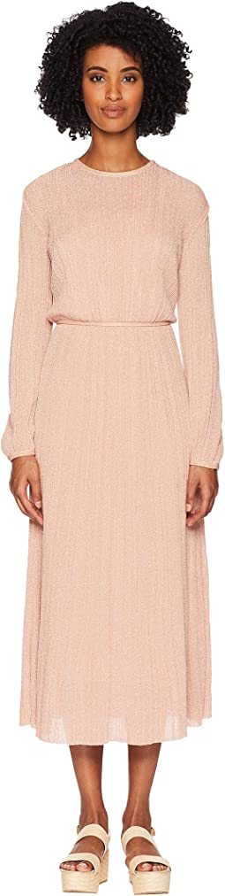 Solid Lurex Plisse Long Sleeve Dress
