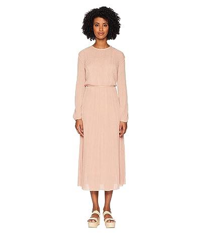 M Missoni Solid Lurex Plisse Long Sleeve Dress (Blush) Women