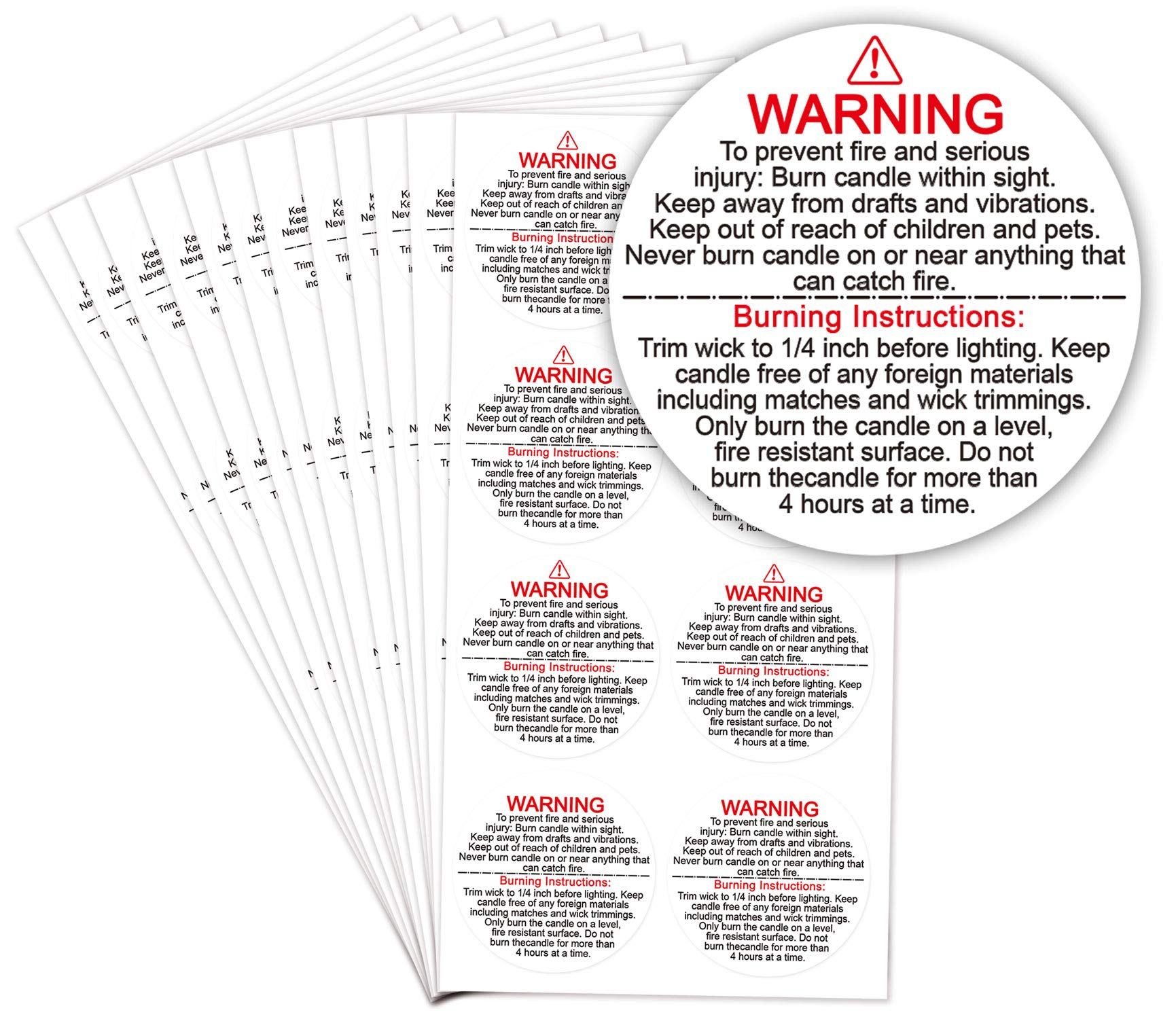 """300 Labels, 1.5/"""" Round Label Toucan Craft Supplies Candle Warning Stickers"""