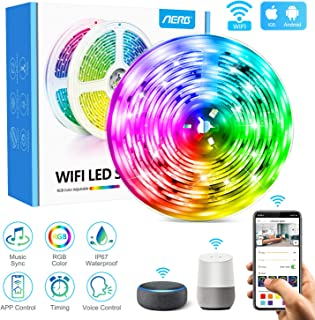 Aerb 5M WIFI Tira LED Smart, Luces LED de 16 millones de colores, Sincroniza con la Música, Control de voz, Program Persanalizado, Compatibles con Alexa y Google Assitant, Echo, Para Decoración