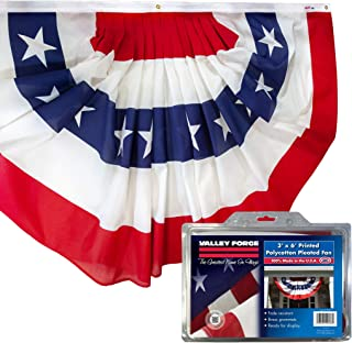 Valley Forge American Fan Flag 3' x 6' Polycotton Sentinel 100% Made In U.S.A. Stars and Stripes Bunting Canvas Header Brass Grommets Model 36636010-5-S