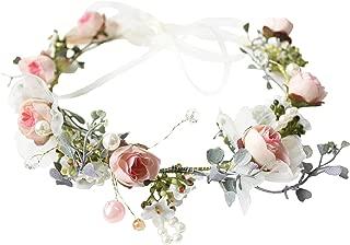 Vivivalue Boho Flower Headband Hair Wreath Floral Garland Crown Halo Headpiece with Ribbon Wedding Festival Party