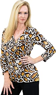 2 For 1 Clothes Women's Outfits Solid/Print V Neck Drape Jersey Side Shirring Blouse