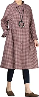 Mordenmiss Women's Check Plaid A-Line Flare Pleated Shirt Dress with Pockets