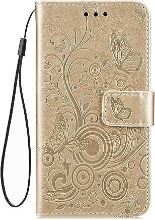 Jinghuash Kompatibel mit Huawei P Smart 2019 H�lle,Leder Tasche Schmetterling Muster Brieftasche Etui Bookstyle PU Leder Flip Case Handyh�lle mit Kartenf�cher Magnet Schutzh�lle Handytasche-Gold
