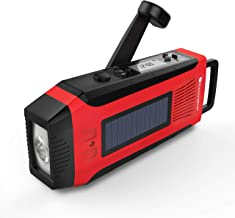 RunningSnail AM/FM NOAA Weather Emergency Solar Digital Crank Radio with 3W LED Flashlight, SOS Alarm & 2000MAh Power Bank(Red)