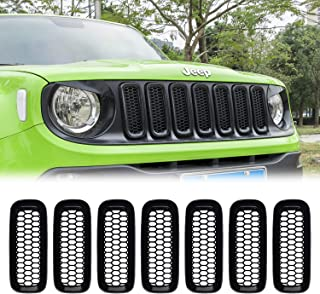 RT-TCZ Front Grill Grille Inserts for Jeep Renegade 2019 2020 ABS Grill Guard Cover Trim Black 7PCs