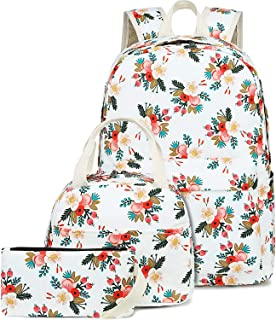 BLUBOON School Backpack Set Canvas Teen Girls Bookbags 15 inches Laptop Backpack Kids Lunch Tote Bag Clutch Purse