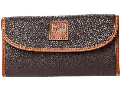 Dooney & Bourke Pebble II Continental Clutch (Brown/Brandy Trim) Clutch Handbags