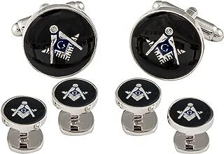 Cuff-Daddy Freemason Masonic Cufflinks Studs Silver Black with Presentation Box