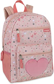 Girl's Backpack With Plush Applique And Multiple Pockets (Plush Starry Hearts)