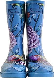 Women's Mid-Calf Rain Boot | Handmade Waterproof Natural Rubber | Memory Foam Insole