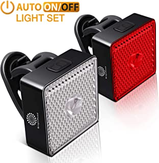 BrightRoad Auto On/Off Bike Light Set, Front 80 & Back 40 Lumens Bicycle Lights, IPX6 Waterproof LED Headlight & Tail Light, Rechargeable Flashlights for Bikes with Built-in Reflectors
