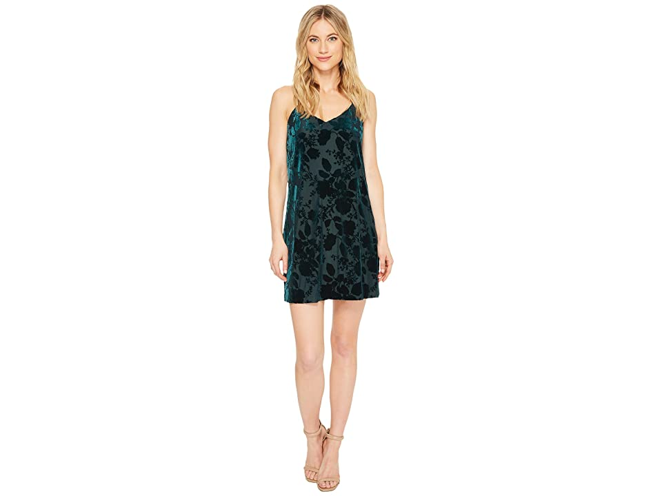 CeCe Mia Burnout Velvet Slip Dress (Jasper Green) Women