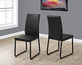 Monarch Dining Chair - 2Pcs / 38 H/Black Leather-Look/Black