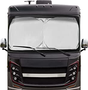 EcoNour RV Bus Windshield Sunshade with Storage Pouch   240T UV Reflective Nylon Keeps Your RV Motorhome Cool   for Front RVs, Trucks, Motorhomes, Large Bus Windshield Sun Shade   XXL(51