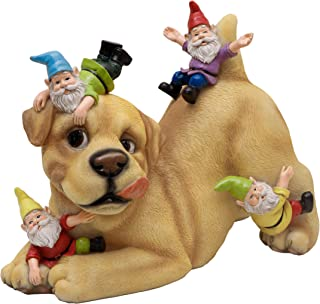TERESA'S COLLECTIONS The Dog Garden Gnome, Outdoor Lawn Statue Decoration - Best Art Décor for Indoor Outdoor Home Or Office
